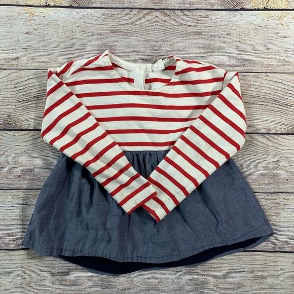 Gap dress red white stripe chambray bottom